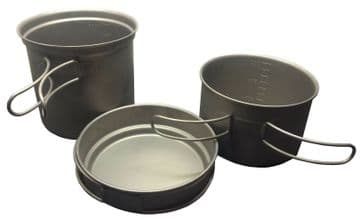 3 pc TITANIUM PANS POTS with STAINLESS STEEL HANDLES very large camping hiking